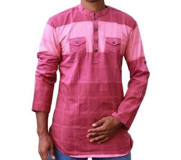 Mens Pink Printed Cotton Katua