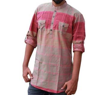 Mens Deep Pink Printed Cotton Katua