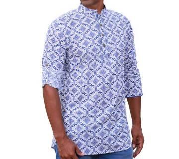 Mens White and Blue Printed Cotton Katua