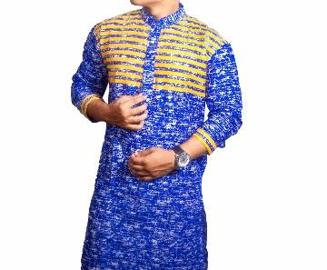 Mens Blue Printed Cotton Panjabi