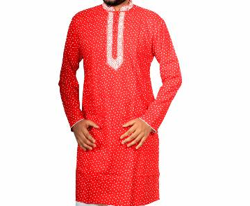 Mens Red Printed Cotton Panjabi