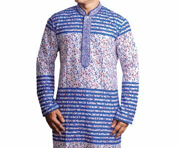 Mens White and Blue Printed Cotton Panjabi