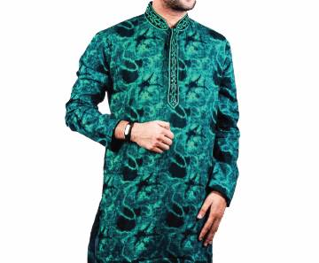 Mens Green Printed Cotton Panjabi