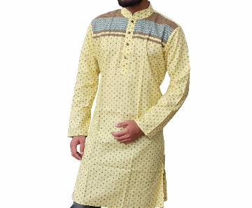 Yellow Printed Cotton Panjabi For Men