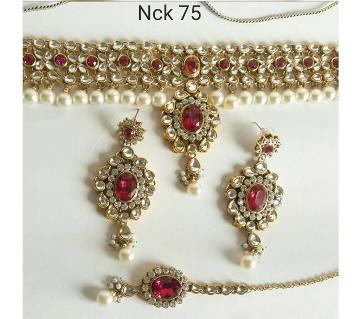Kundan Choker Necklace earrings and Tikli set