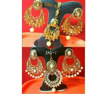Ladies kundon setting earrings & tikli