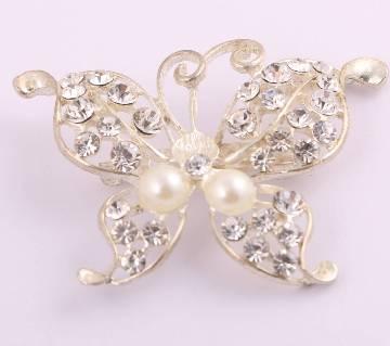 Silver rhinestone pearl Brooch