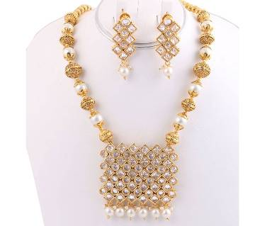 Gold Plated Joypuri Necklace with Earrings