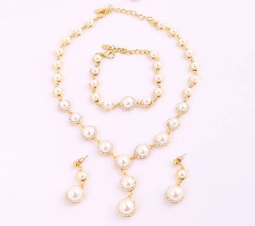 Gold Plated Pearl Chain with Earrings