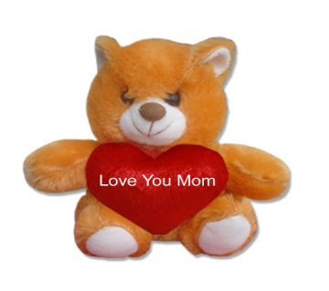 "Teddy bear with red heart and the text ""Love You Mom"""
