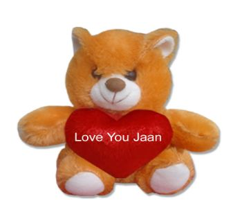 "Small teddy bear with the text ""Love You Jaan"""