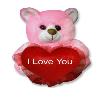 "Pink color small teddy bear with red hear and text ""I Love You"""