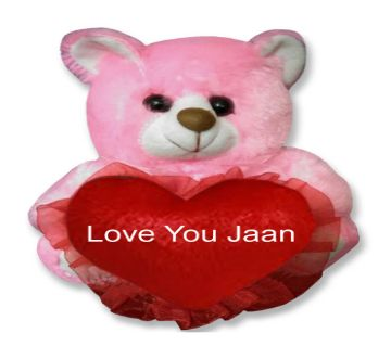 "Pink color small teddy bear with red hear and text ""Love You Jaan"""
