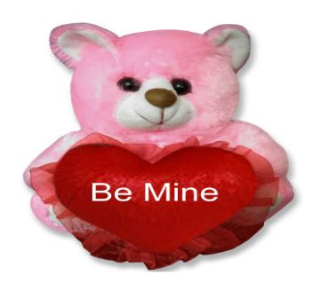 "Pink color Teddy bear with red heart and the text ""Be Mine"""