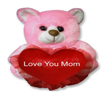 "Pink color Teddy bear with red heart and the text ""Love You Mom"""