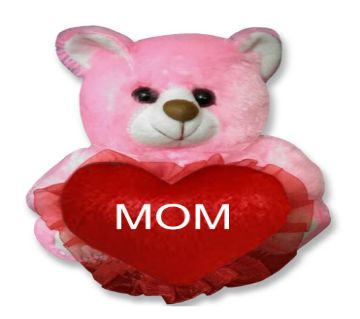 "Pink color Teddy bear with red heart and the text ""MOM"""