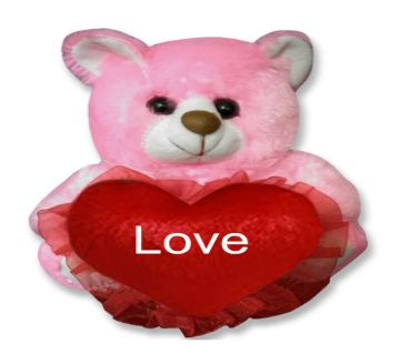 "Pink color Teddy bear with red heart and the text ""Love"""