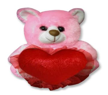 Pink color Teddy bear with red heart
