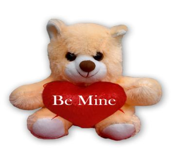 "Off white Teddy bear with red heart and the text ""Be Mine"""