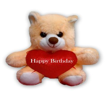 "Off white Teddy bear with red heart and the text ""Happy Birthday"""