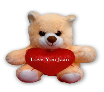 "Off white Teddy bear with red heart and the text ""Love You Jaan"""