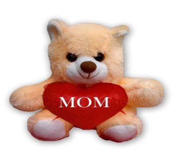 "Off white Teddy bear with red heart and the text ""MOM"""
