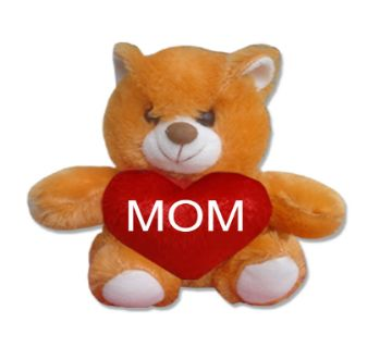 "Brown color Teddy bear with red heart and the text ""MOM"""