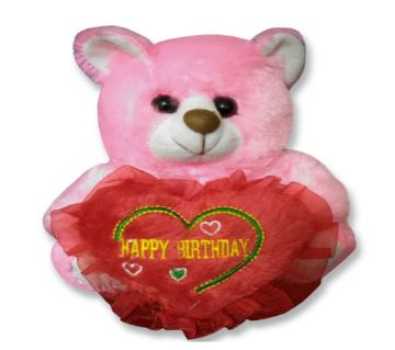 "Pink color Teddy bear with red heart and the text ""Happy Birthday"""