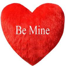 "হার্ট শেপড পিলো With the text ""Be Mine"""