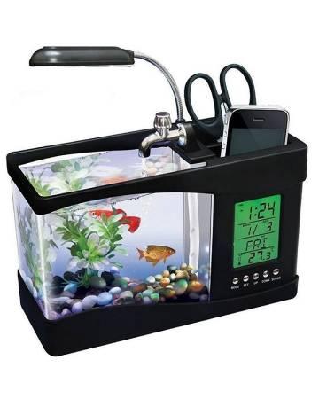 USB ডেস্কটপ অ্যাকুরিয়াম উইথ LCD ক্লক