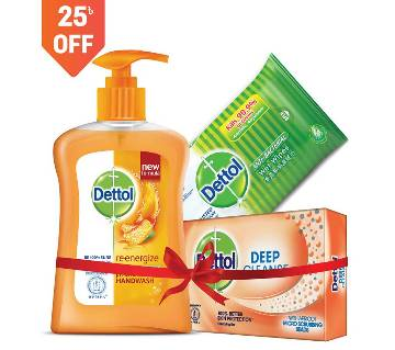 Dettol Re-Energize Handwash, Soap & Wipes (4) Combo Offer