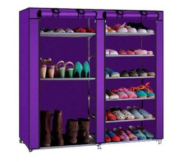 double row 8 shelves easily bearable shoe rack