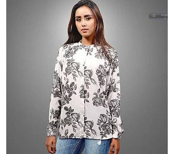 Printed White Cotton and Georgette Long Sleeves Shirt