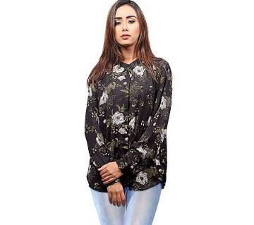 Printed Black Cotton and Georgette Long Sleeves Shirt