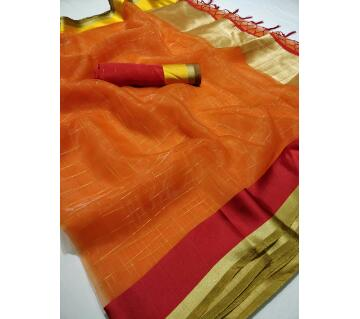 ORGANGA CHEX Saree with blouse pice 01 orange with crimson and Golden color paar
