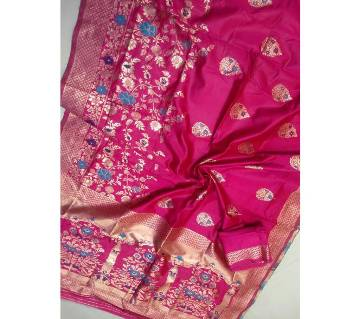 Banaras silk Saree with blouse pice 5 Carmine pink with Gold Mix color paar