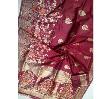 Banaras silk Sharee with blouse pice 03 Maroon with Gold Mix color paar