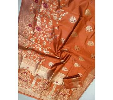 Banaras silk Sharee with blouse pice 4 Red orange with Gold Mix color paar