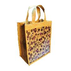 Natural Jute Shopping Bag- 12x14x5  inch
