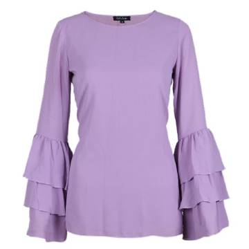 Blue Violet Georgette Casual Long Sleeves Tops