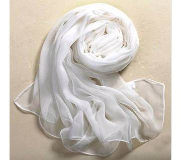 Silk Pure White Soft Thin Oblong Scarf