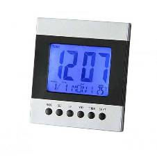 Digital Table Clock - Silver and Black