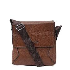 PU Leather Messenger Bag For Men - Dark Brown