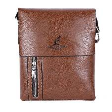 Chocolate Leather Messenger Bag For Men