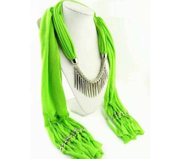Ladies scarf with Attached Necklace