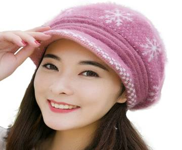 Floral/Bow Design Winter Cap For Women