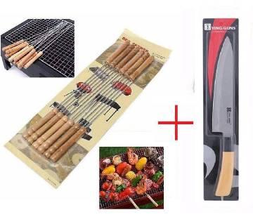 12 pcs barbecue stick + SS Wood Knife