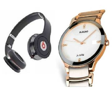 Beats Solo HD Wired Headphones (copy) + RADO Gents Watch (copy) Combo