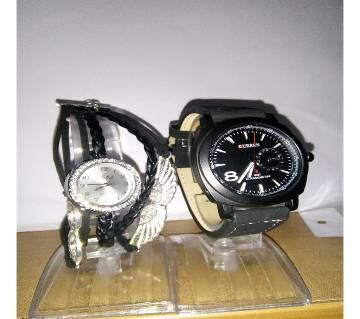 Curren Wrist Watch For Men + Bird Ladies Wrist Watch