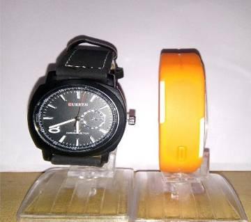 Curren Wrist Watch For Men + LED Sports Watch